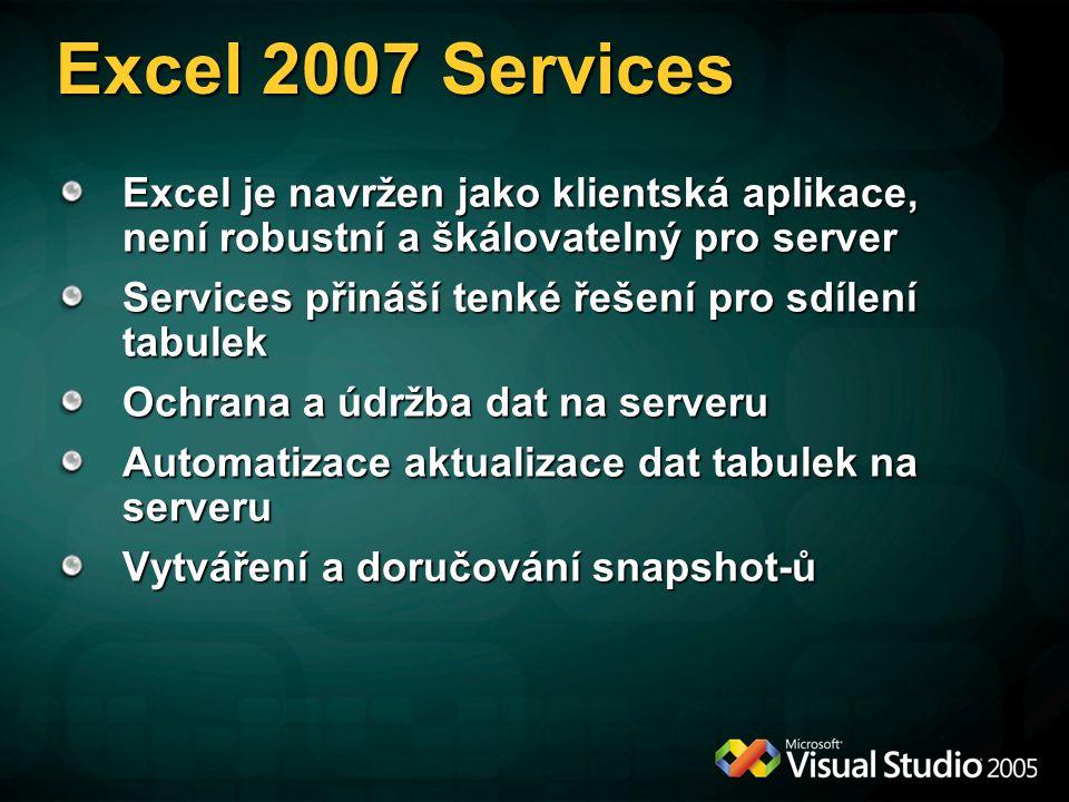 Excel 2007 Services Excel je navržen jako klientská aplikace, není robustní a škálovatelný pro server.