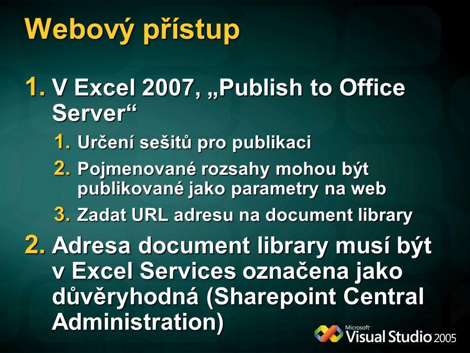 """Webový přístup V Excel 2007, """"Publish to Office Server"""