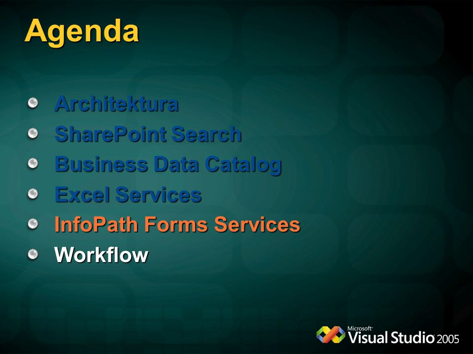 Agenda Architektura SharePoint Search Business Data Catalog