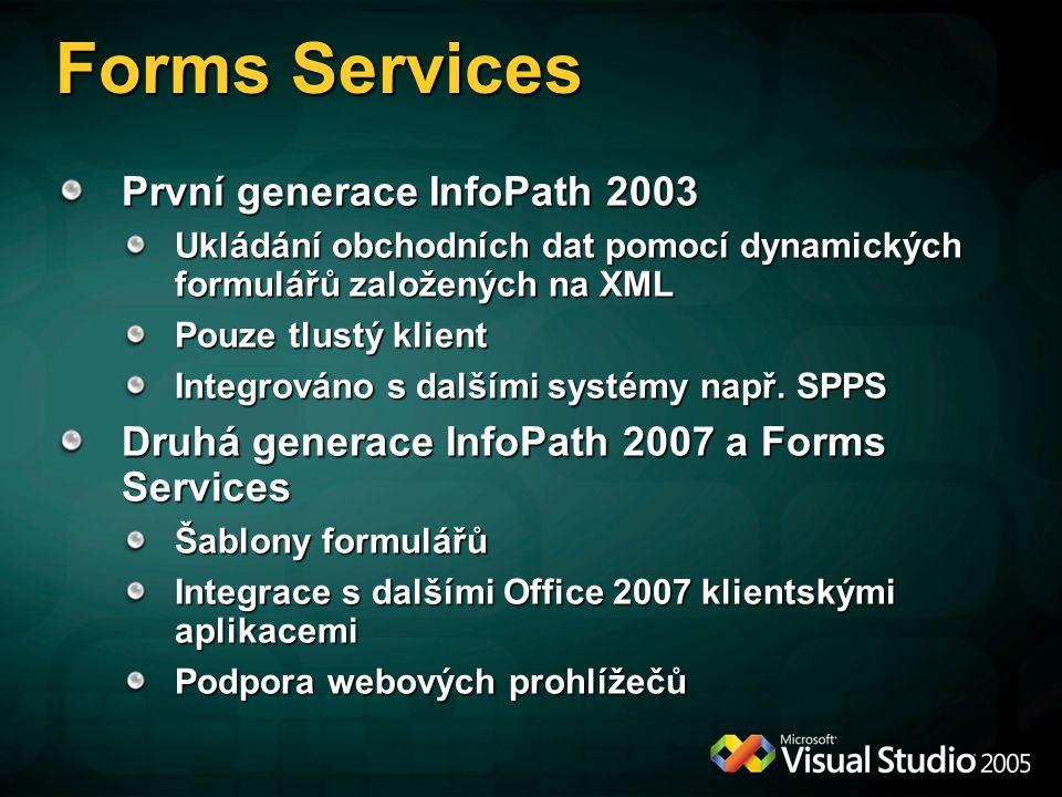 Forms Services První generace InfoPath 2003