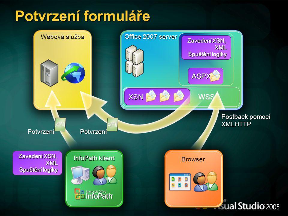 Potvrzení formuláře ASPX XSN WSS Webová služba Office 2007 server