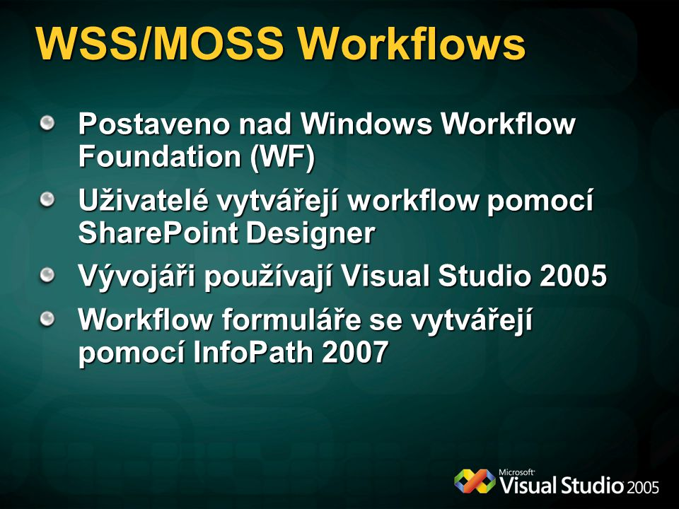 WSS/MOSS Workflows Postaveno nad Windows Workflow Foundation (WF)