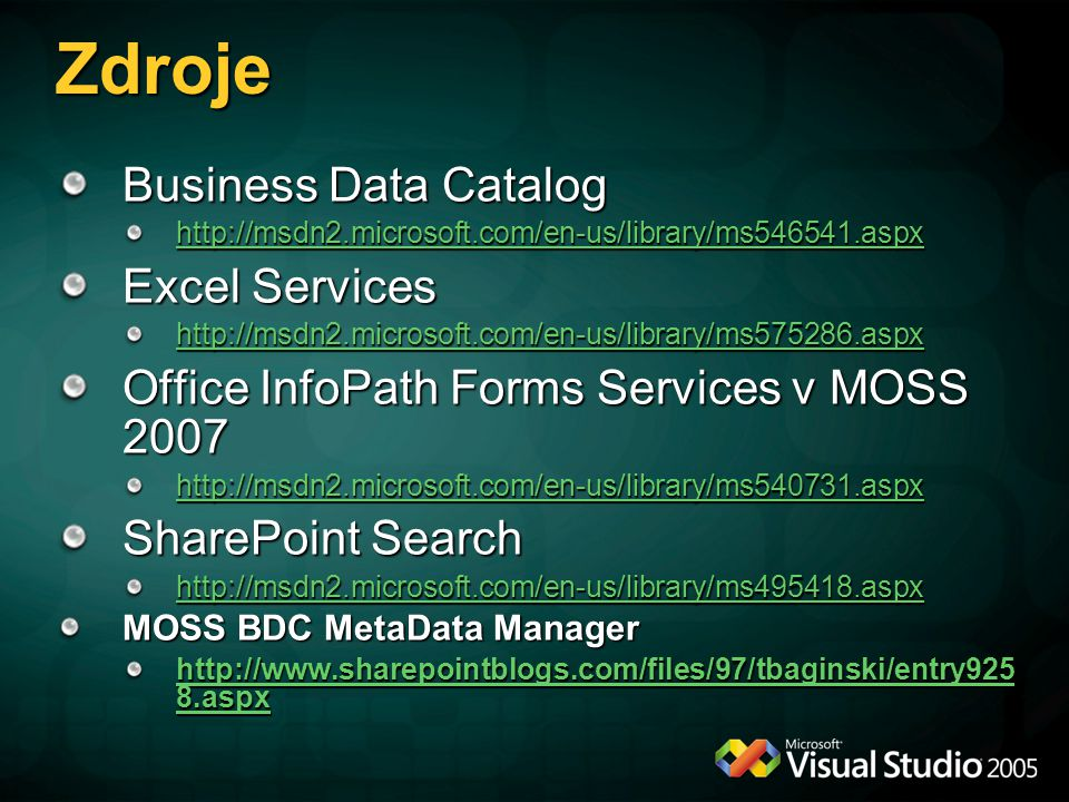 Zdroje Business Data Catalog Excel Services