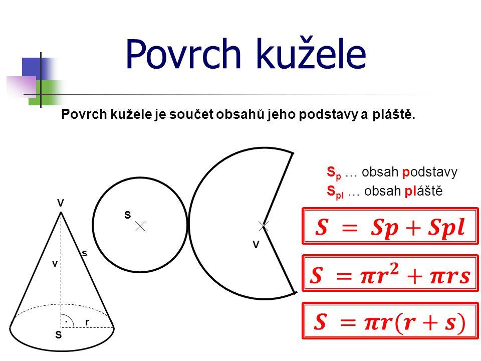 Povrch kužele 𝑺 = 𝑺𝒑+𝑺𝒑𝒍 𝑺 =𝝅 𝒓 𝟐 +𝝅𝒓𝒔 𝑺 =𝝅𝒓(𝒓+𝒔)