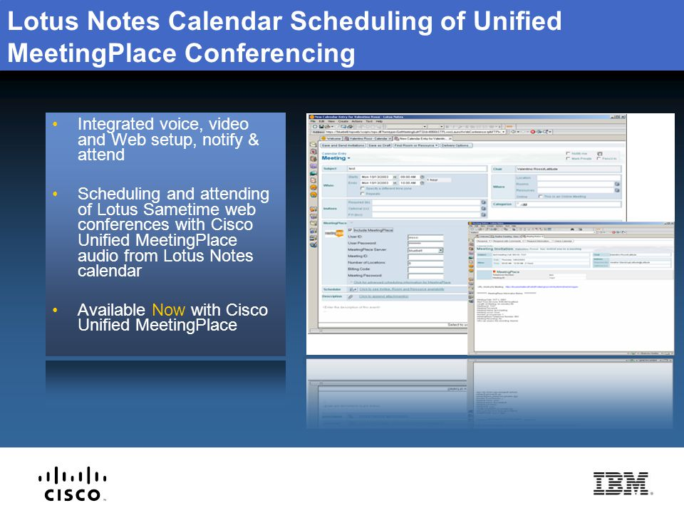 Lotus Notes Calendar Scheduling of Unified MeetingPlace Conferencing
