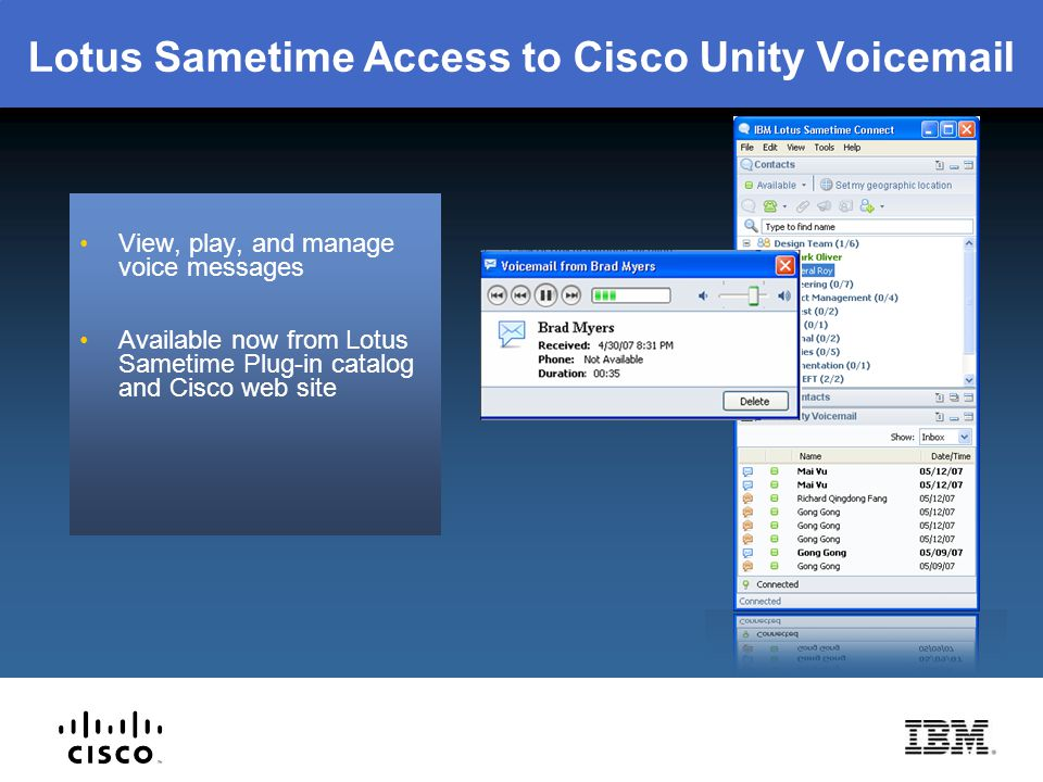 Lotus Sametime Access to Cisco Unity Voicemail