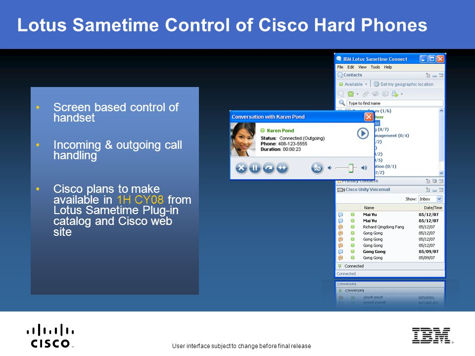 Lotus Sametime Control of Cisco Hard Phones