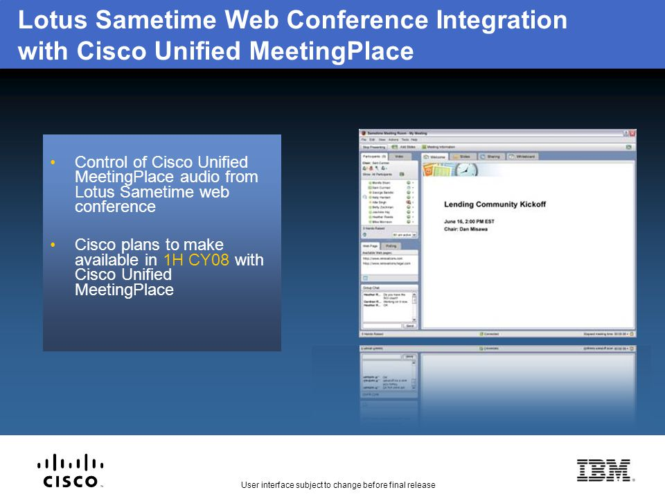 Lotus Sametime Web Conference Integration with Cisco Unified MeetingPlace