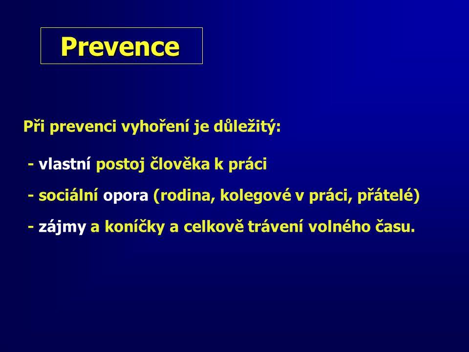 Prevence Při prevenci vyhoření je důležitý: