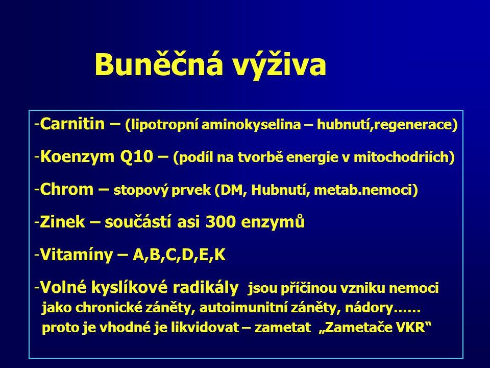 Buněčná výživa Carnitin – (lipotropní aminokyselina – hubnutí,regenerace) Koenzym Q10 – (podíl na tvorbě energie v mitochodriích)