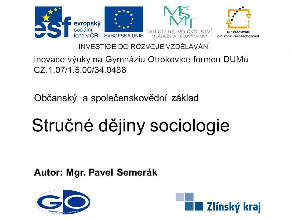 Stručné dějiny sociologie