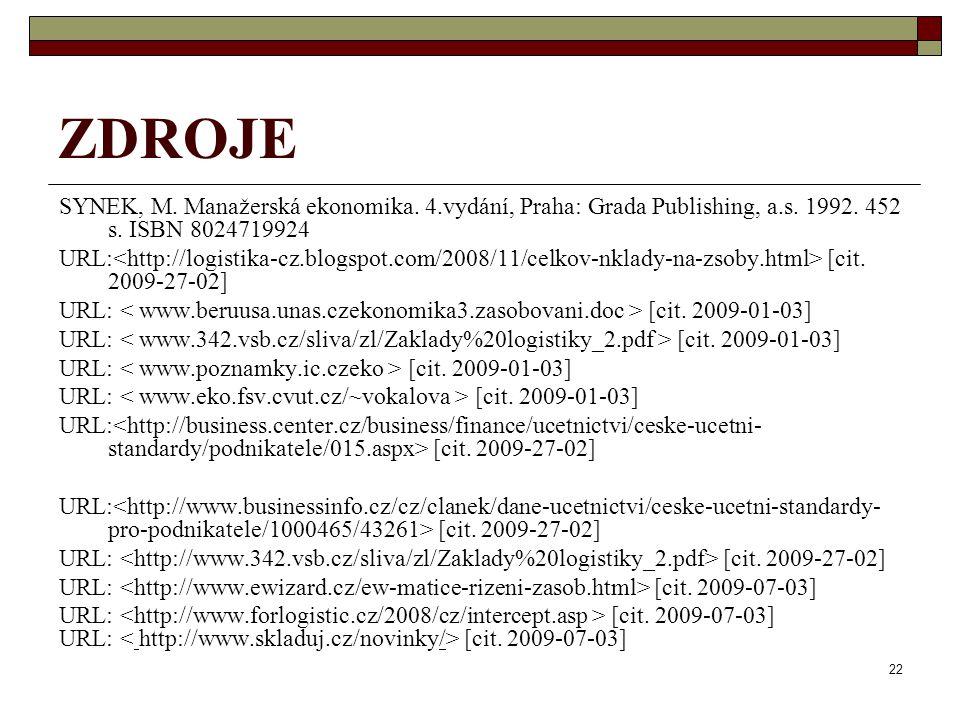 ZDROJE SYNEK, M. Manažerská ekonomika. 4.vydání, Praha: Grada Publishing, a.s. 1992. 452 s. ISBN 8024719924.