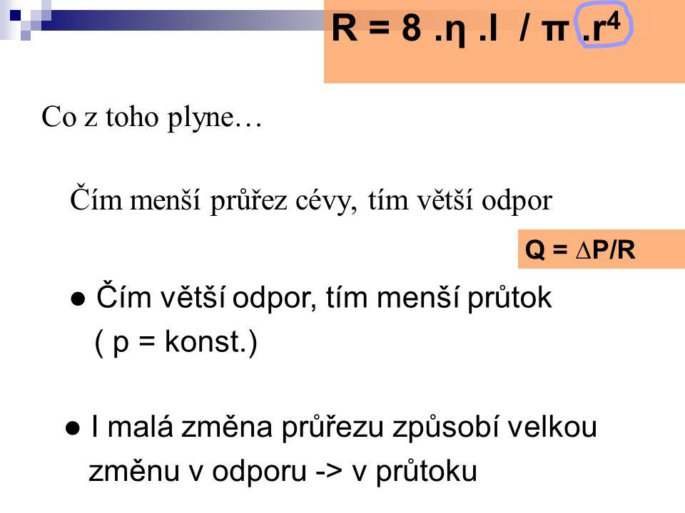 R = 8 .η .l / π .r4 Čím větší odpor, tím menší průtok