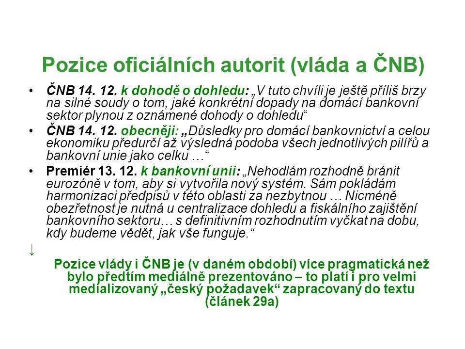 Pozice oficiálních autorit (vláda a ČNB)