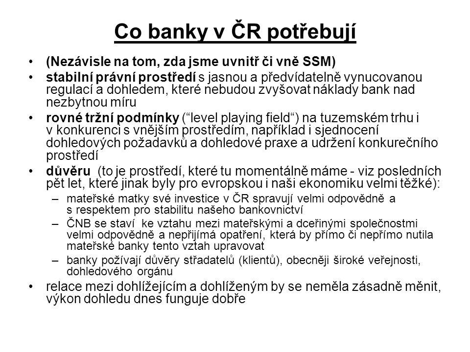 Co banky v ČR potřebují (Nezávisle na tom, zda jsme uvnitř či vně SSM)