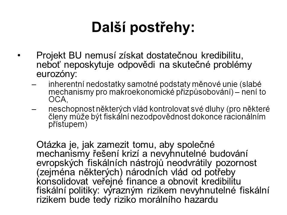 Další postřehy: Projekt BU nemusí získat dostatečnou kredibilitu, neboť neposkytuje odpovědi na skutečné problémy eurozóny: