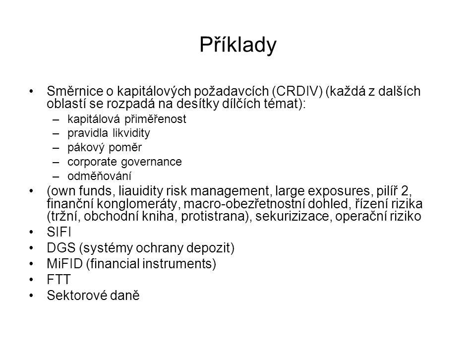 Příklady Směrnice o kapitálových požadavcích (CRDIV) (každá z dalších oblastí se rozpadá na desítky dílčích témat):