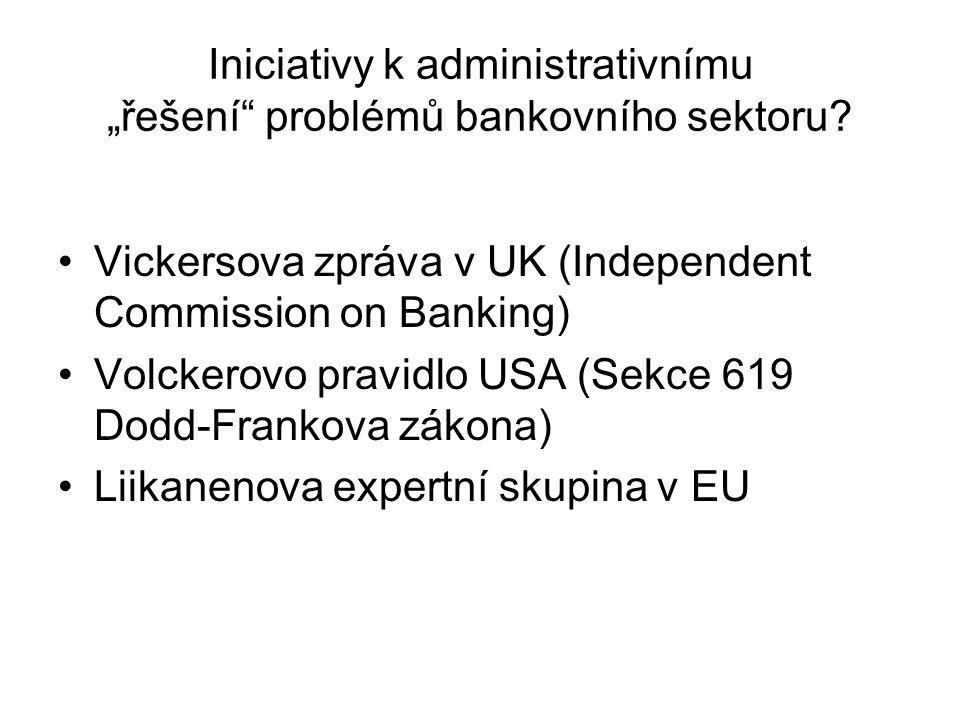 """Iniciativy k administrativnímu """"řešení problémů bankovního sektoru"""