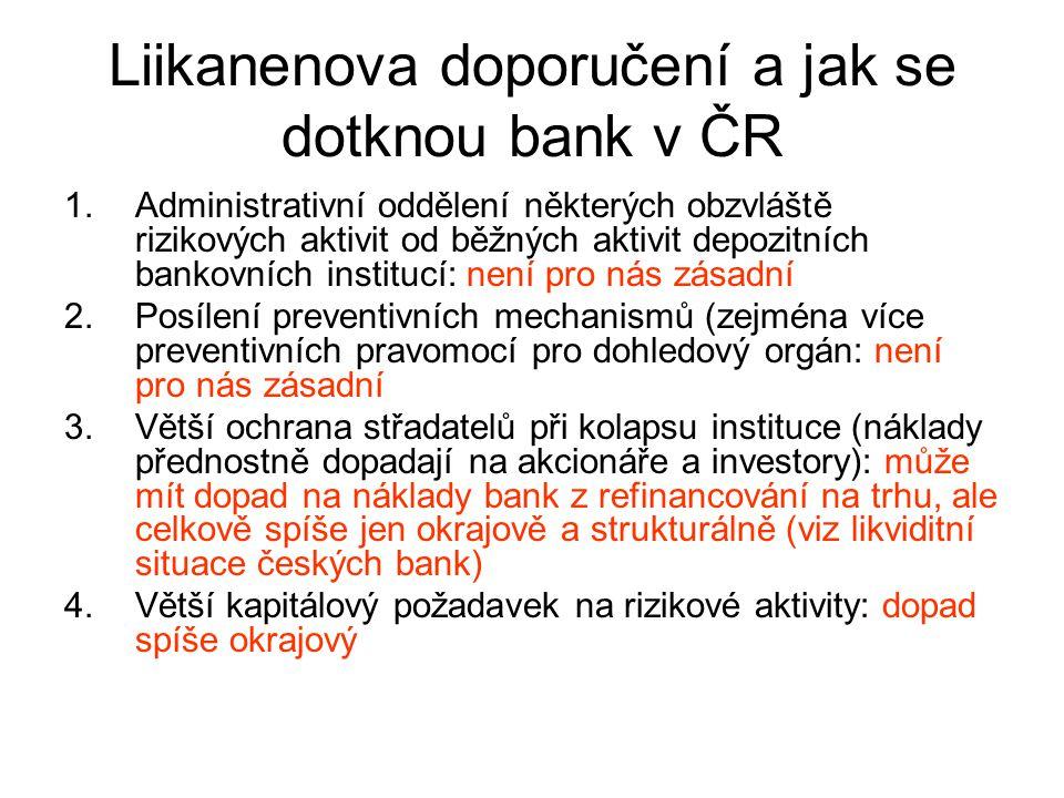 Liikanenova doporučení a jak se dotknou bank v ČR
