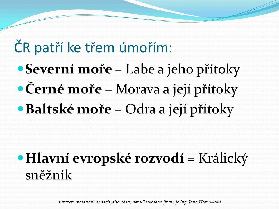 ČR patří ke třem úmořím: