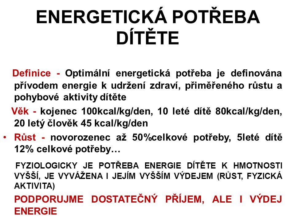 ENERGETICKÁ POTŘEBA DÍTĚTE