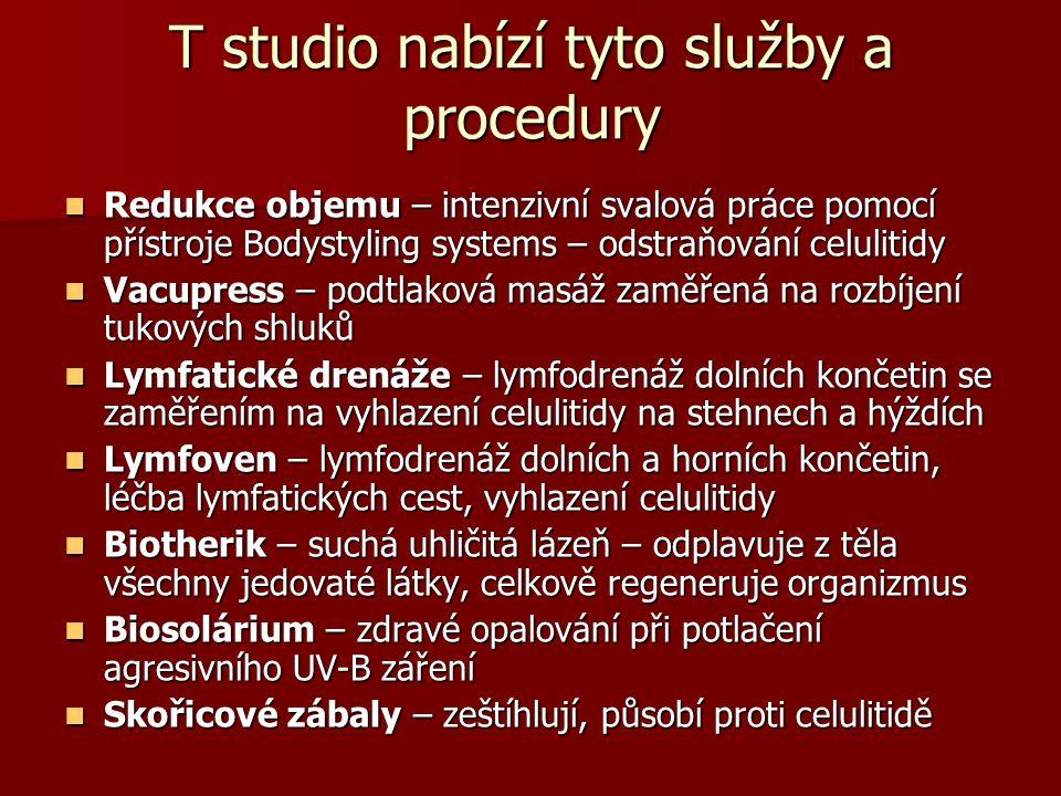 T studio nabízí tyto služby a procedury