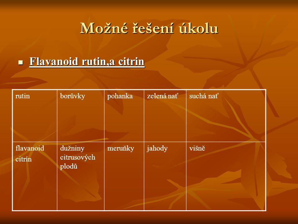 Možné řešení úkolu Flavanoid rutin,a citrin rutin borůvky pohanka