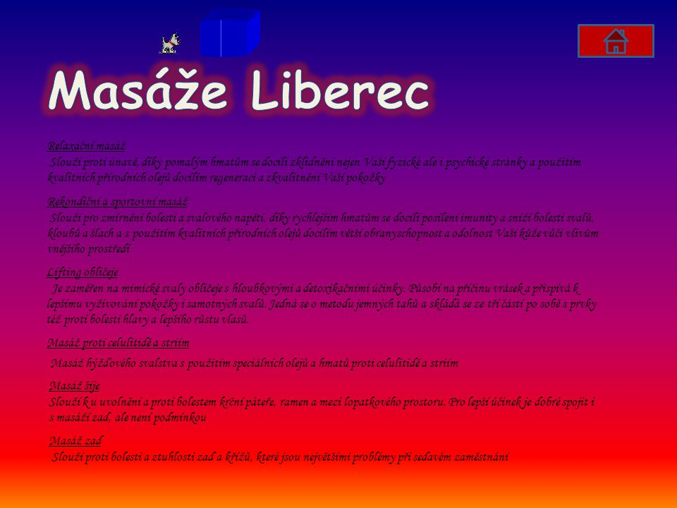 Masáže Liberec Relaxační masáž.