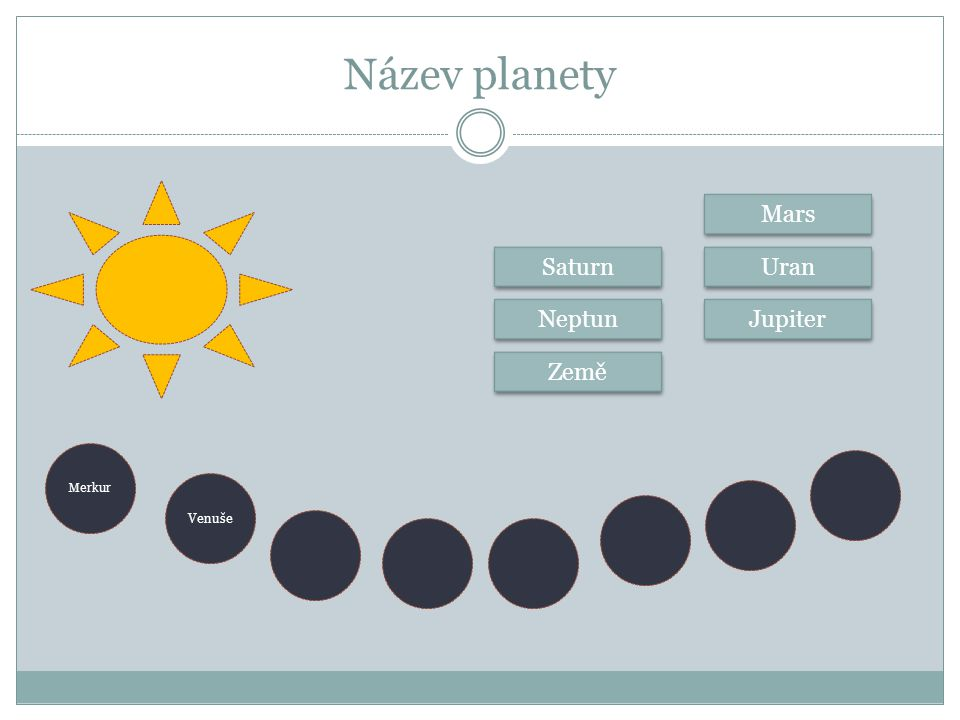 Název planety Mars Saturn Uran Neptun Jupiter Země Merkur Venuše