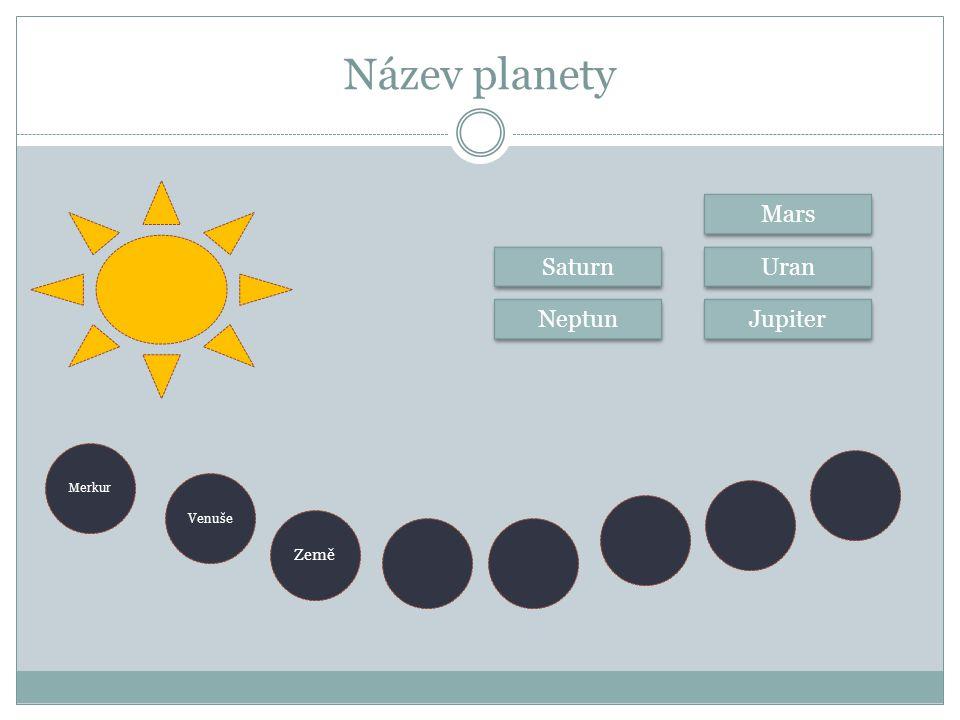 Název planety Mars Saturn Uran Neptun Jupiter Merkur Venuše Země