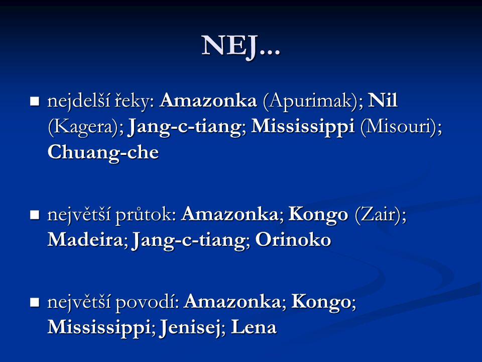 NEJ... nejdelší řeky: Amazonka (Apurimak); Nil (Kagera); Jang-c-tiang; Mississippi (Misouri); Chuang-che.