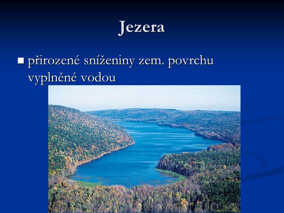 Jezera přirozené sníženiny zem. povrchu vyplněné vodou
