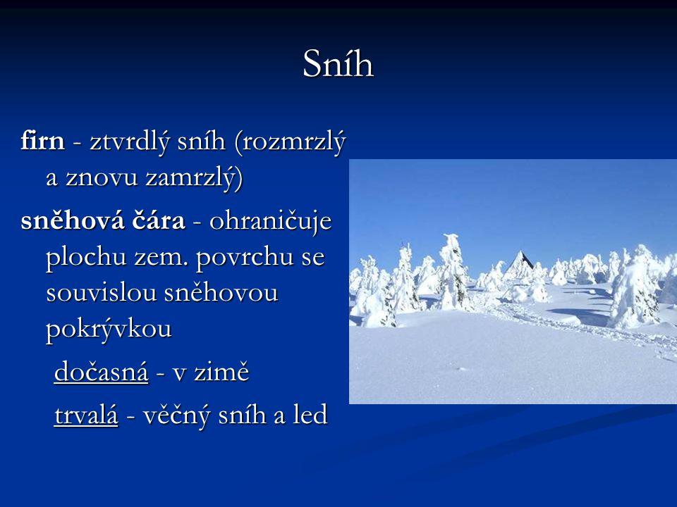 Sníh firn - ztvrdlý sníh (rozmrzlý a znovu zamrzlý)