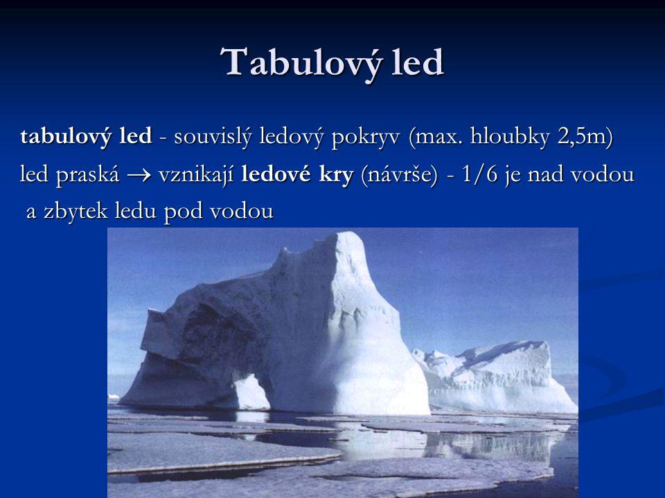 Tabulový led tabulový led - souvislý ledový pokryv (max. hloubky 2,5m)