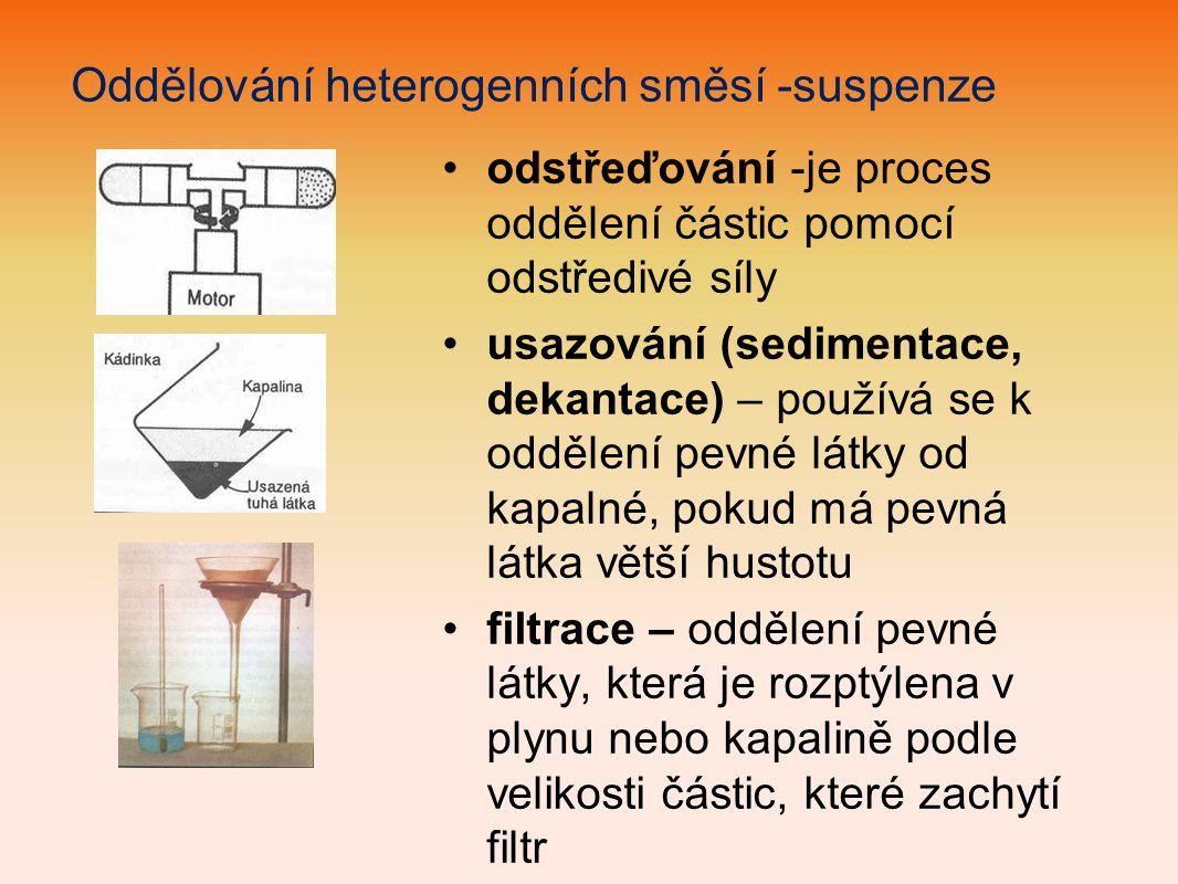 Oddělování heterogenních směsí -suspenze
