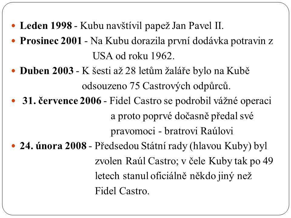 Leden 1998 - Kubu navštívil papež Jan Pavel II.