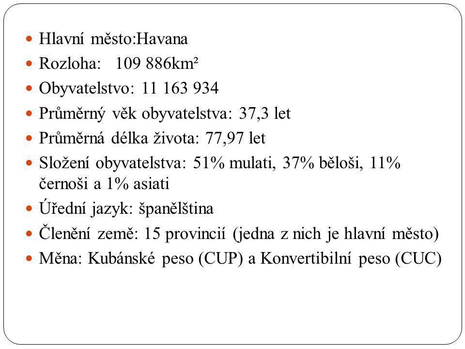 Hlavní město:Havana Rozloha: 109 886km². Obyvatelstvo: 11 163 934. Průměrný věk obyvatelstva: 37,3 let.