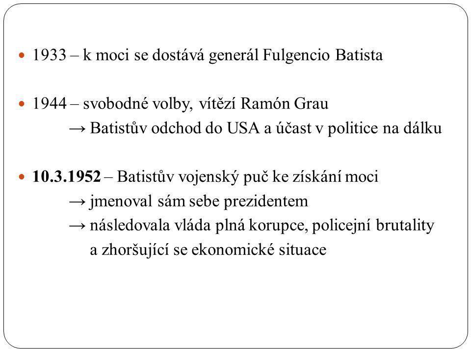 1933 – k moci se dostává generál Fulgencio Batista