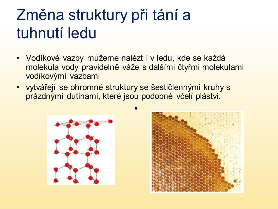 Změna struktury při tání a tuhnutí ledu