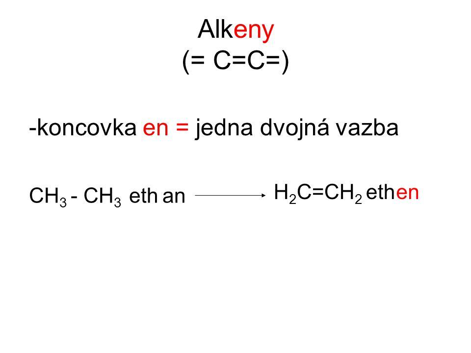 Alkeny (= C=C=) -koncovka en = jedna dvojná vazba H2C=CH2 eth en