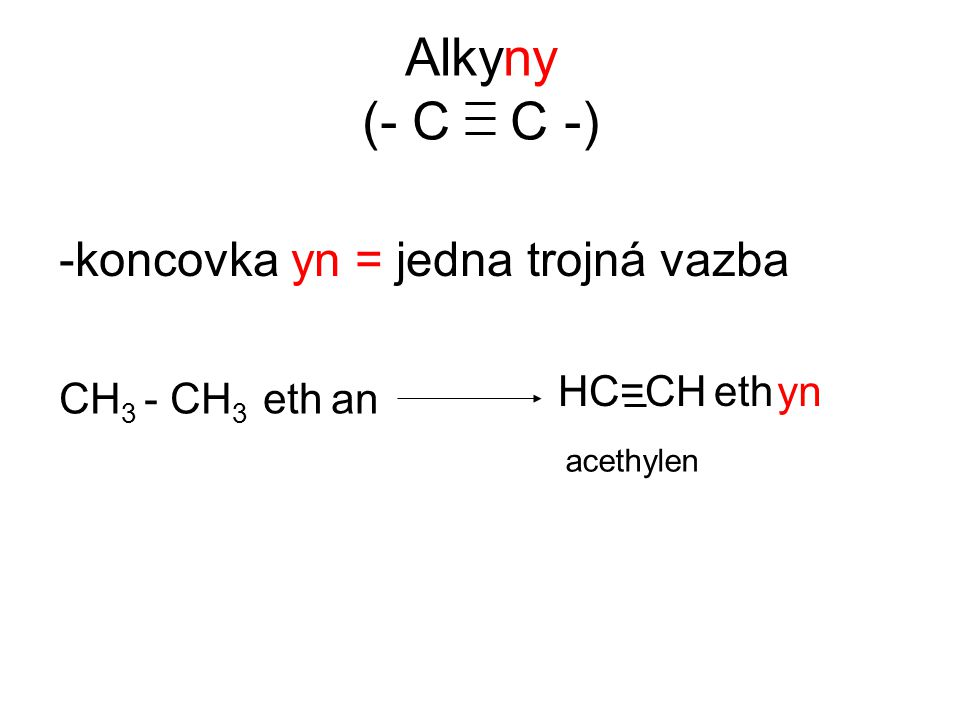 Alkyny (- C C -) -koncovka yn = jedna trojná vazba HC=CH eth yn