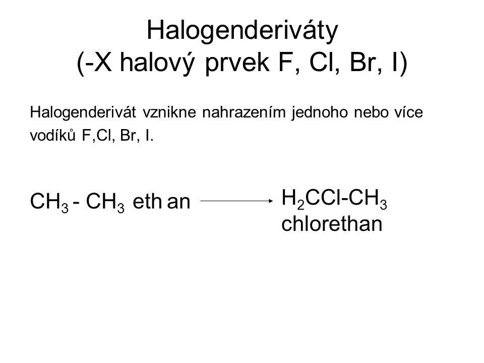Halogenderiváty (-X halový prvek F, Cl, Br, I)
