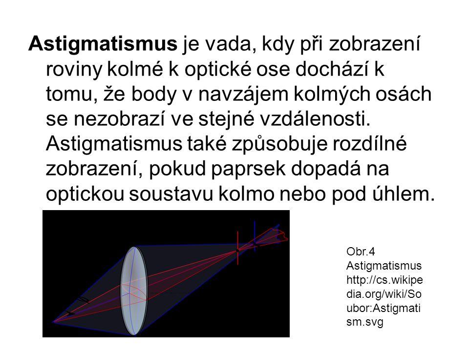 Astigmatismus je vada, kdy při zobrazení roviny kolmé k optické ose dochází k tomu, že body v navzájem kolmých osách se nezobrazí ve stejné vzdálenosti. Astigmatismus také způsobuje rozdílné zobrazení, pokud paprsek dopadá na optickou soustavu kolmo nebo pod úhlem.
