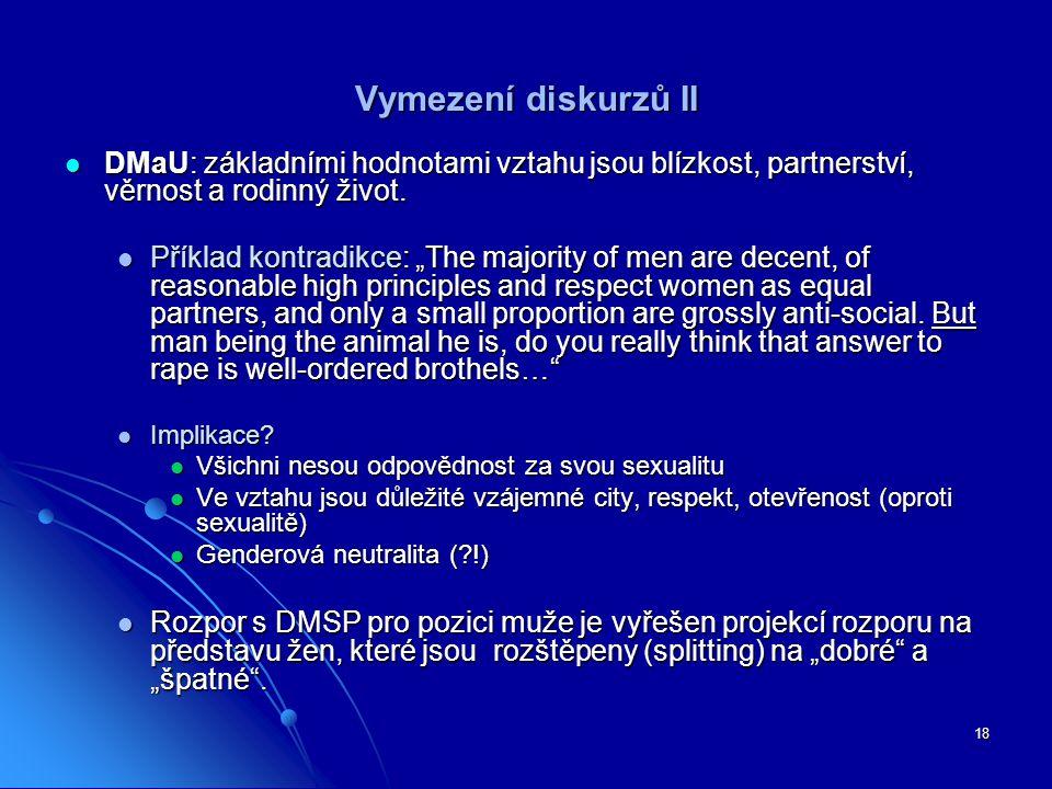 Vymezení diskurzů II DMaU: základními hodnotami vztahu jsou blízkost, partnerství, věrnost a rodinný život.