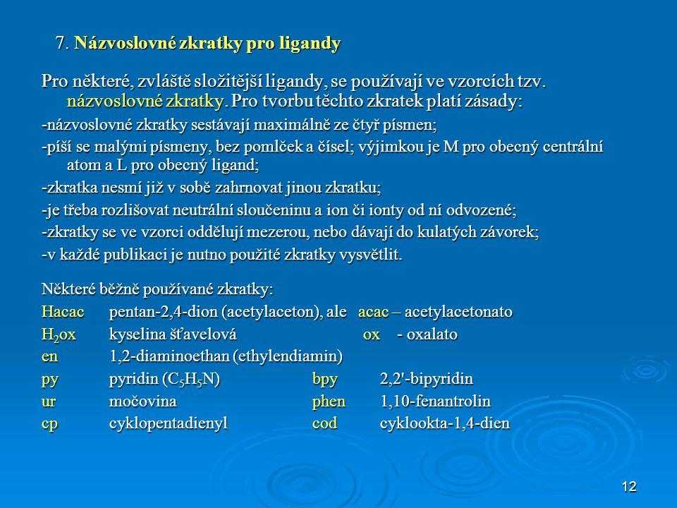 7. Názvoslovné zkratky pro ligandy