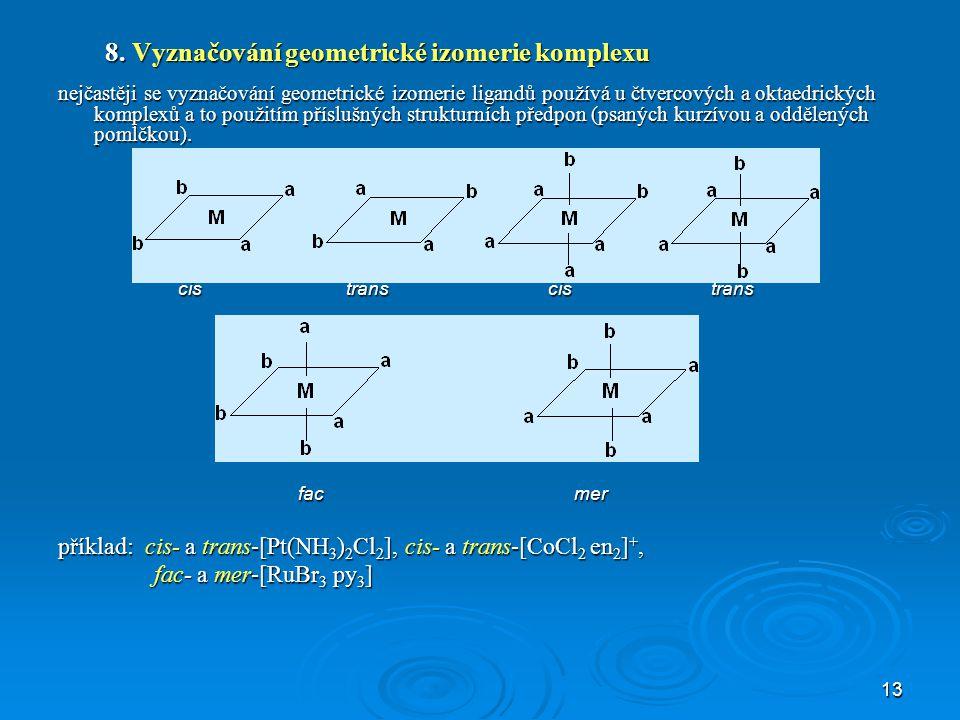 8. Vyznačování geometrické izomerie komplexu