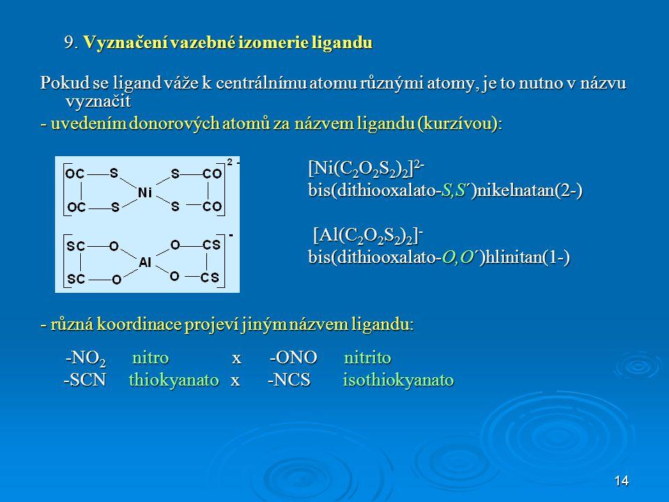 9. Vyznačení vazebné izomerie ligandu
