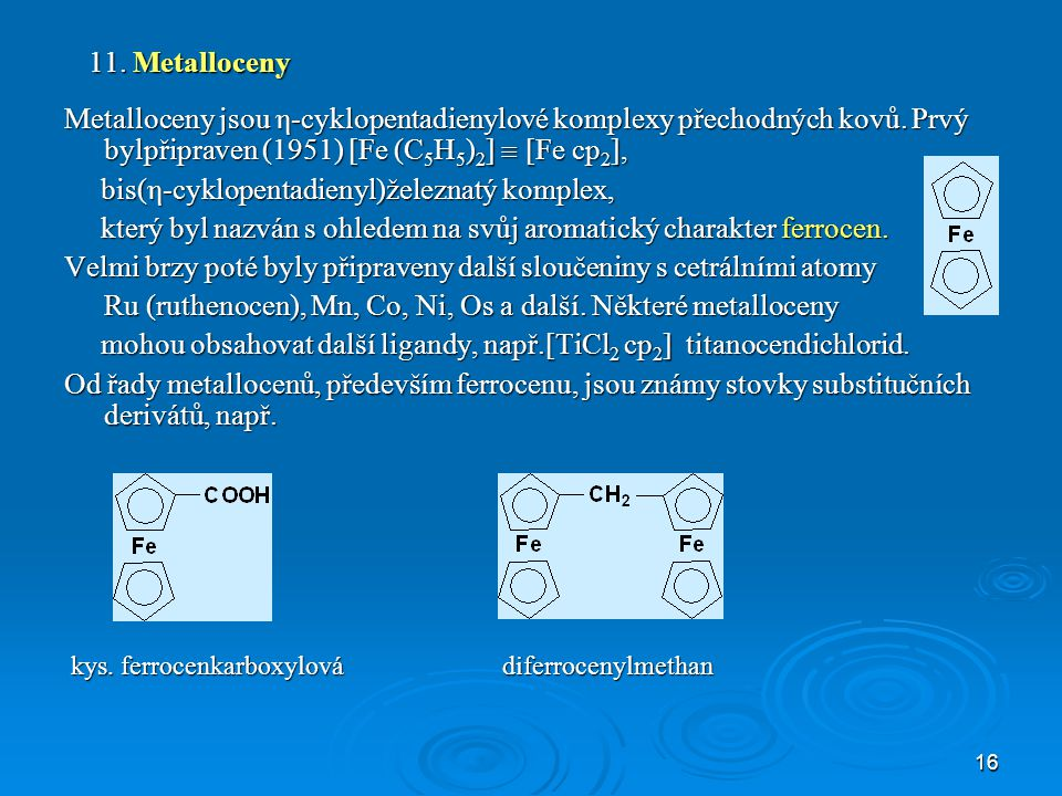 bis(η-cyklopentadienyl)železnatý komplex,