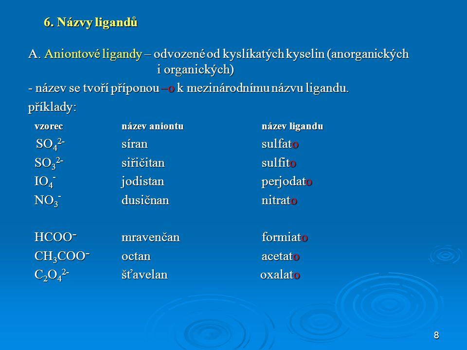 - název se tvoří příponou –o k mezinárodnímu názvu ligandu. příklady: