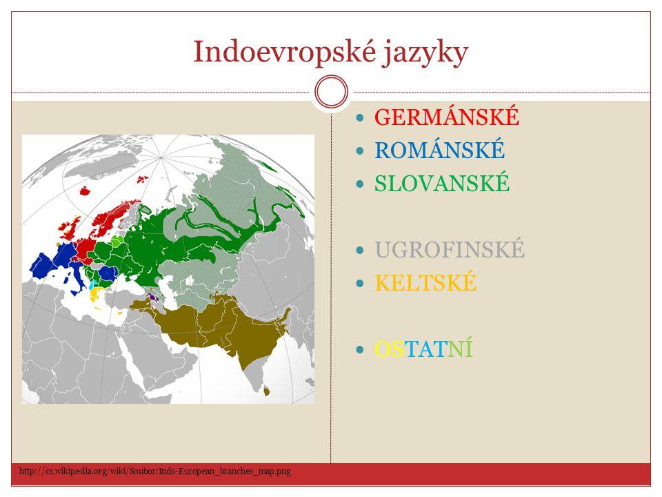 Indoevropské jazyky GERMÁNSKÉ ROMÁNSKÉ SLOVANSKÉ UGROFINSKÉ KELTSKÉ